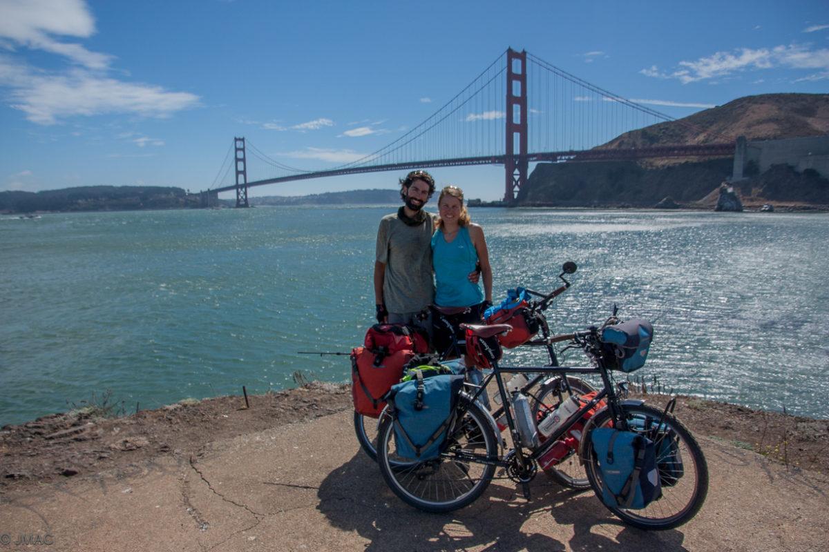 Geschafft! Vor der Golden Gate Bridge