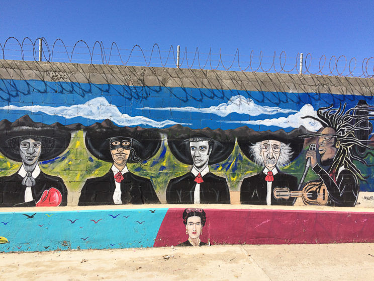 Albert Einstein, Antonio Banderas, Frida Kahlo etc. in einer Wandmalerei